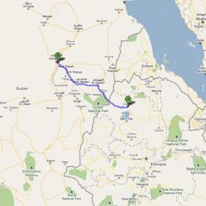 overland route from gondar, ethiopia to kharthoum, sudan