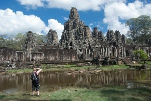bayon temple with clouds