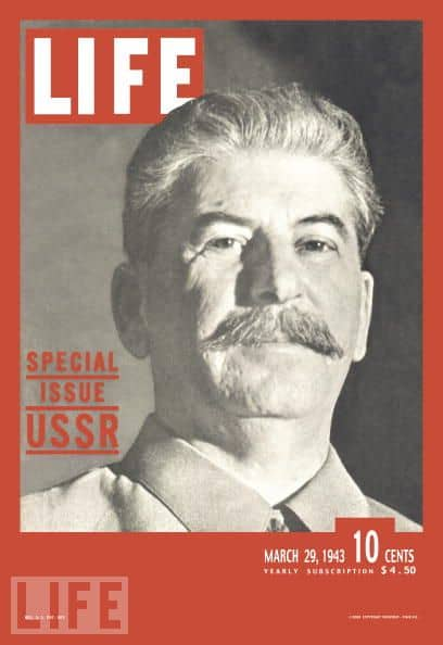 Photo of smiling Stalin from Time by Margaret Bourke-White