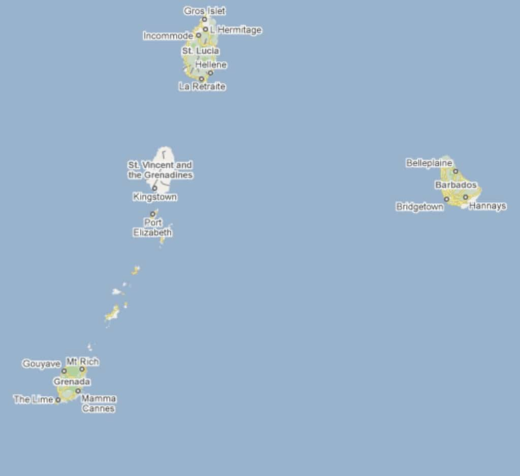 map of grenada and caribbean windward islands