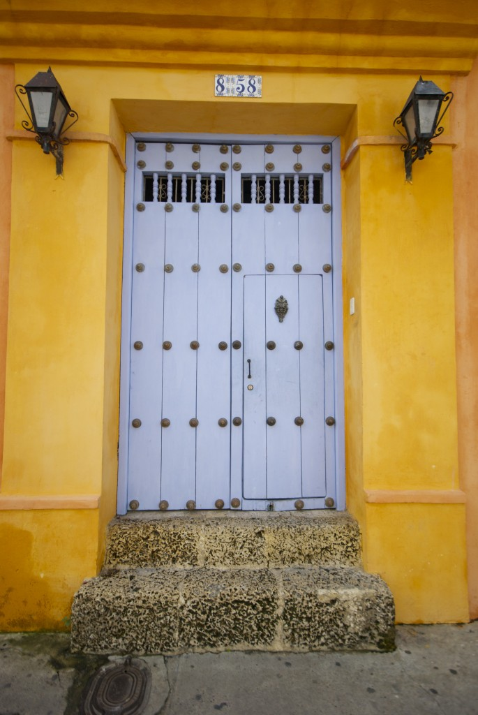 colorful purple yellow door cartagena colombia