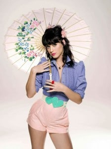 katy perry holding an umbrella in shorts