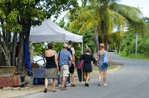 tourists going to the beach island tobago