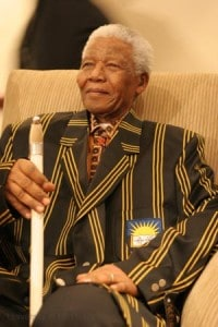 Nelson Mandela wearing funny University blazer 