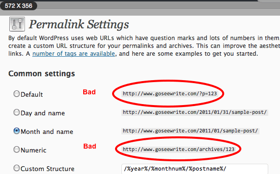 Permalink Settings wordpress screenshot