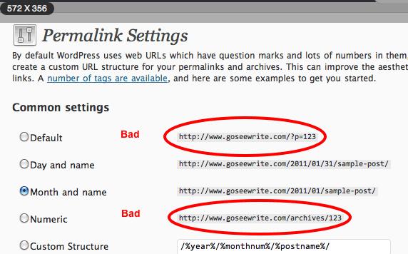 Permalink Settings wordpress screenshot