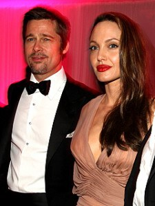 Brad Pitt tuxedo Angelina Jolie long hair