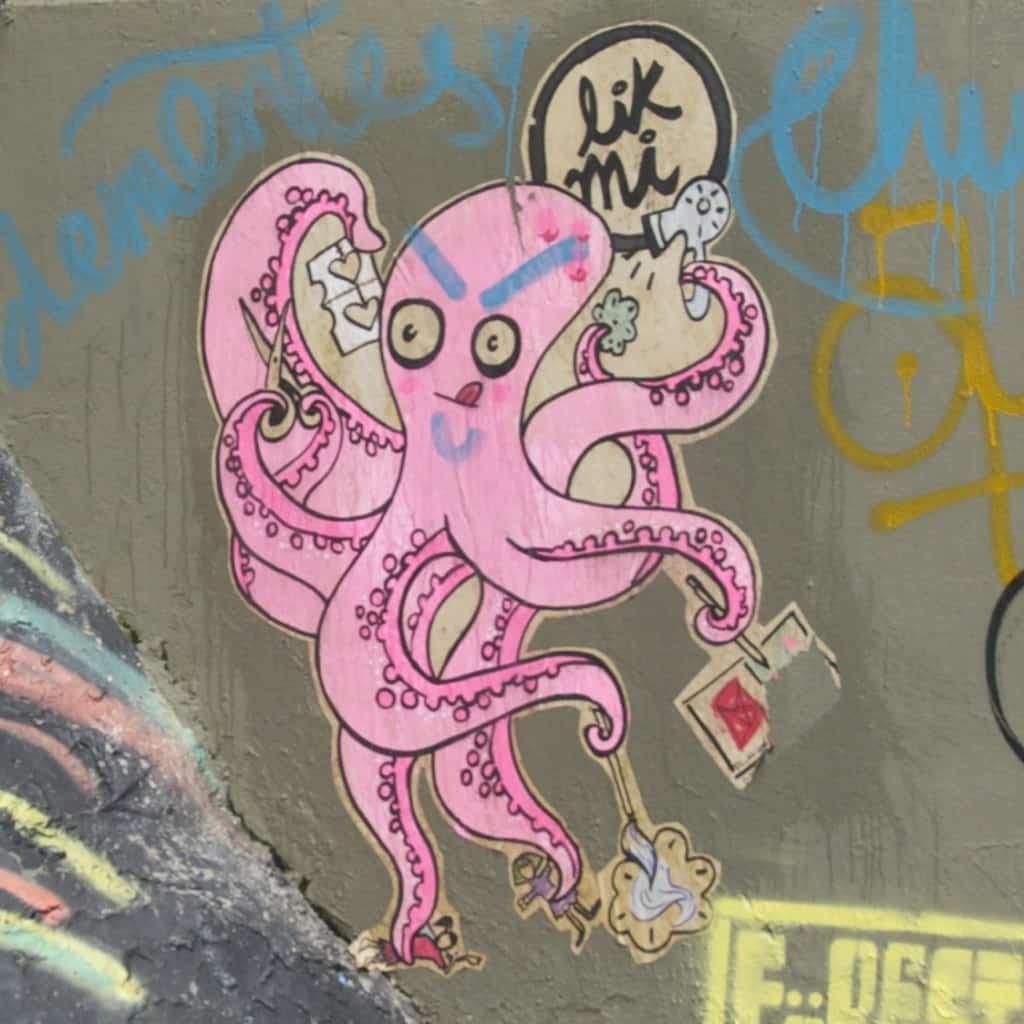 pink octopus bogota street art graffiti