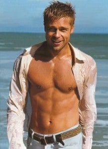 brad pitt shirtless beach