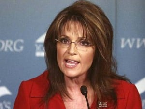 sarah palin red suit shouting