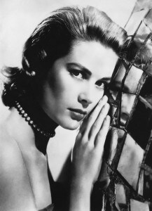 Grace Kelly headshot B&amp;W pearl necklace