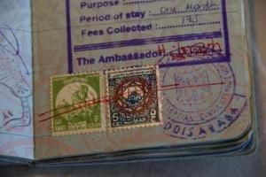 egyptian revenue stamps on passport