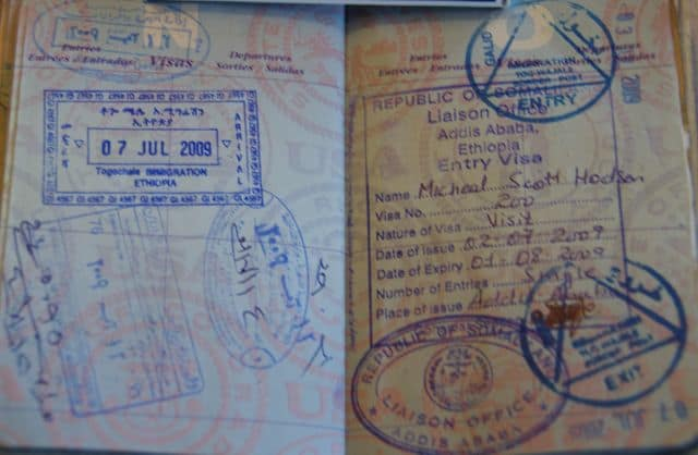 Somaliland visa on right