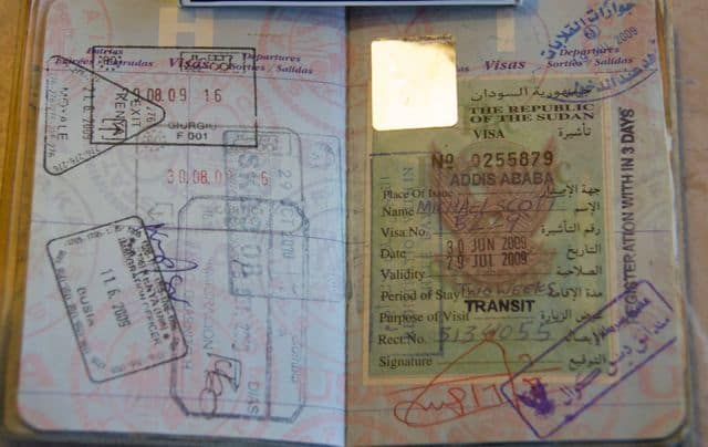 Sudan visa on right