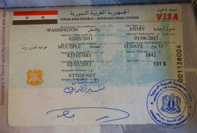 my brand spanking new Syrian visa
