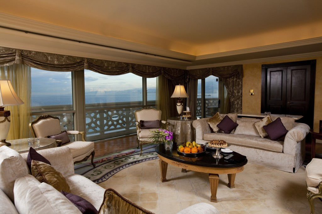 the plush Presidential Suite living room