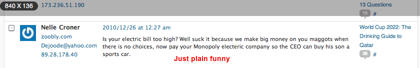 funny spam from my website