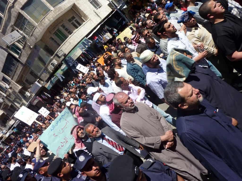 peaceful marching in Amman after Friday prayers