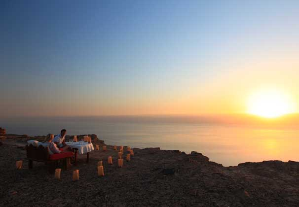 DInner overlooking Dead Sea (Credit: Evason Ma'in Hot Springs)