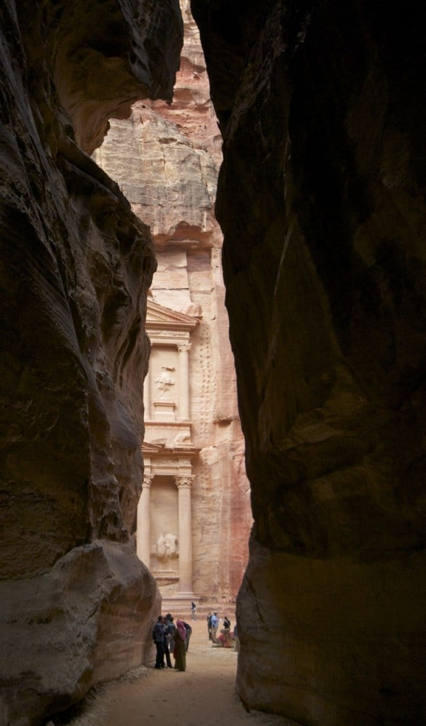the entrance to the Treasury Petra Jordan