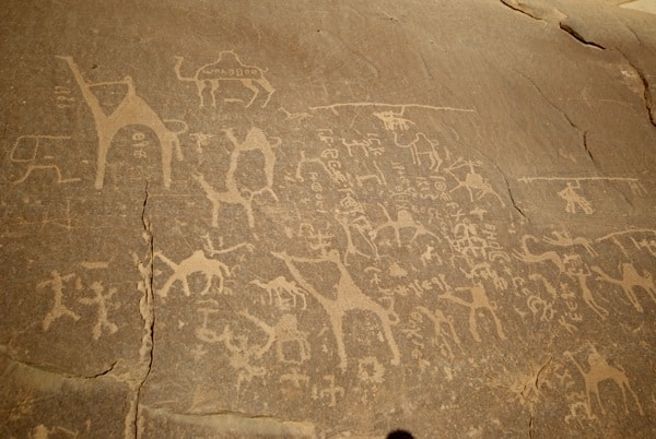 ancient art carvings wadi rum jordan