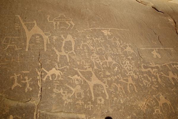 ancient art carvings wadi rum jordan