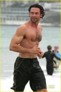 hugh jackman topless running on beach