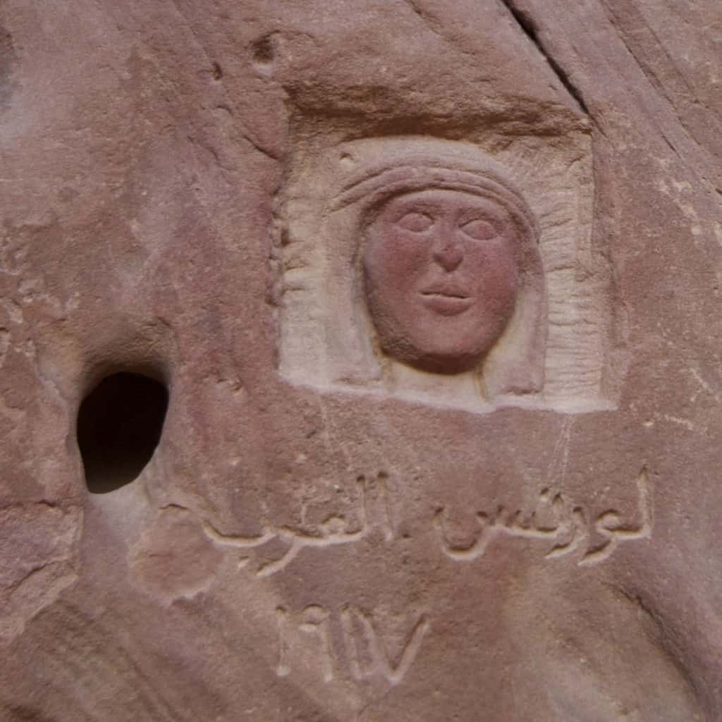 portrait of Lawrence of Arabia carved into a rock