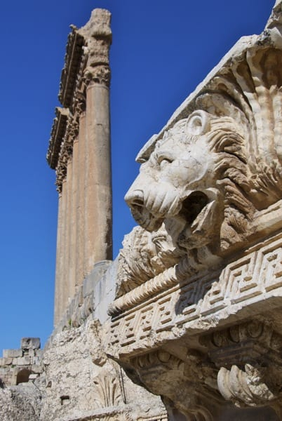 pillars of Temple of Jupiter with lion