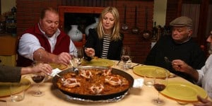 Gwyneth Paltrow with Mario Batali eating TV show