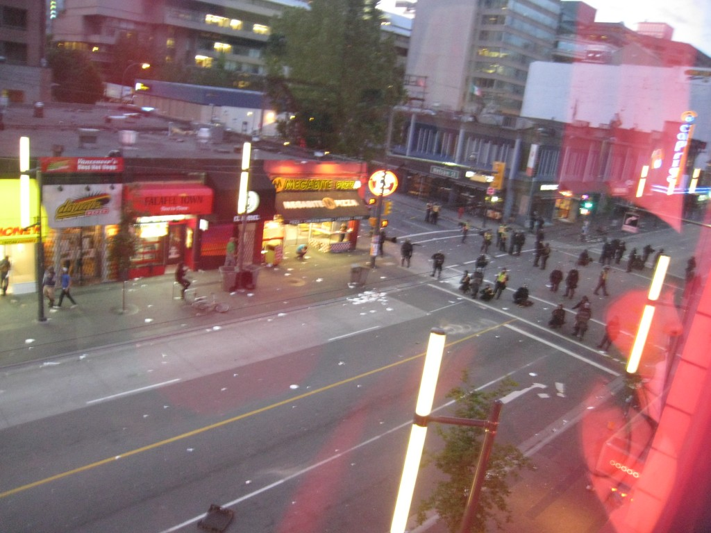 the police massing on Granville Street