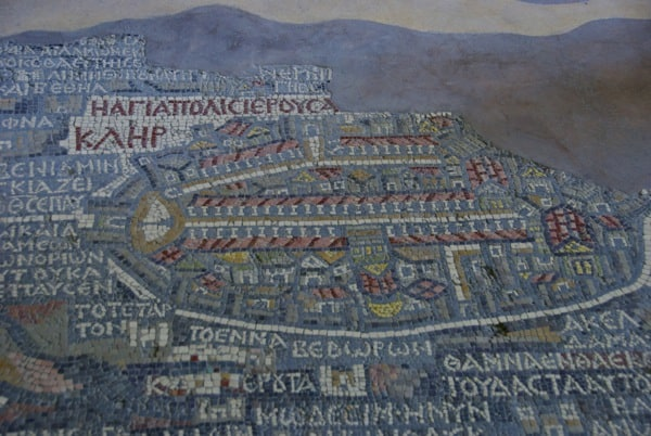 more close up of the map, highlighting Jerusalem