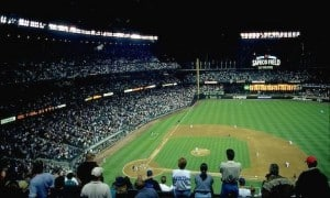 Fans at Safeco Field Seattle Mariners night baseball game