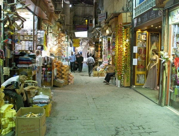 one of the smaller alleyways in the Damascus souk