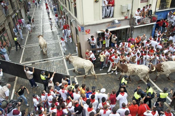 running of the bulls in pamplona spain
