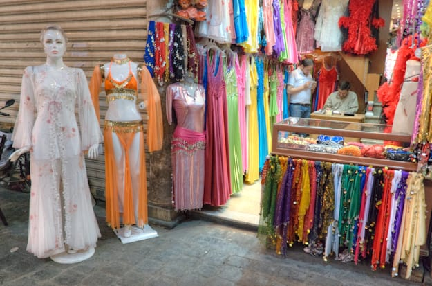women's clothes store with male salespeople in damascus souk