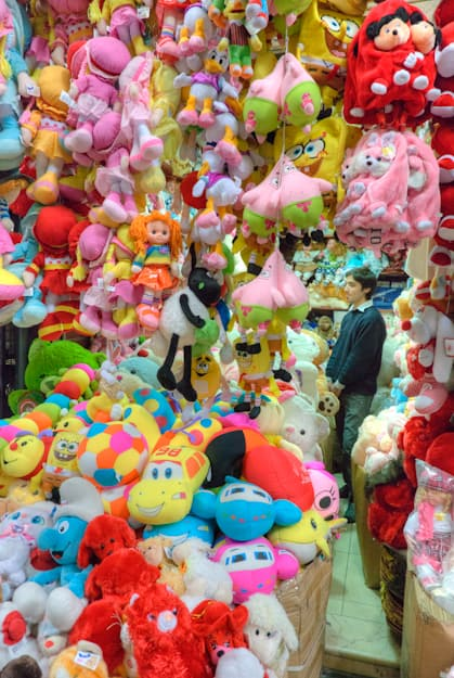 Toy store with stuffed animals in Damascus souk syria