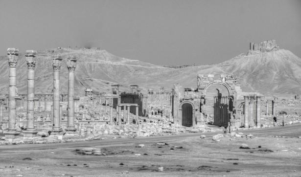 Palmyra Monumental Arch and Entrance from Temple of Bel viewpoint