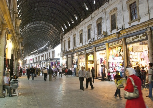 main alley damascus souk syria