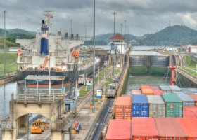 view from bridge cargo freighter ship through panama canal