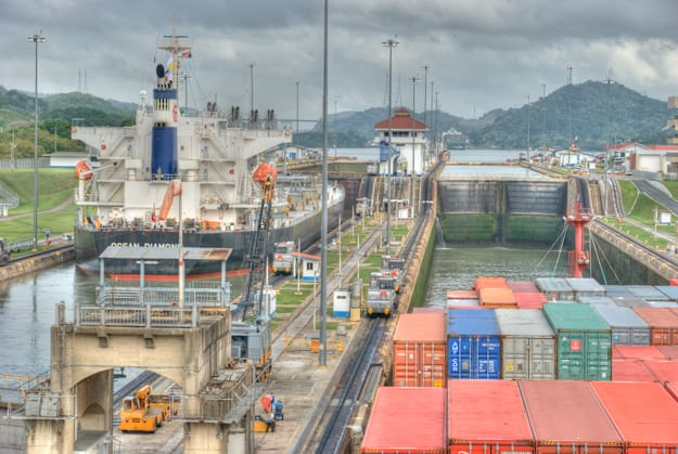 view from the bridge as we pass through the Miraflores locks