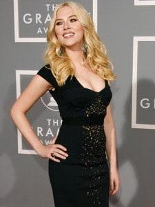 Scarlett Johansson Sexy runway long black dress