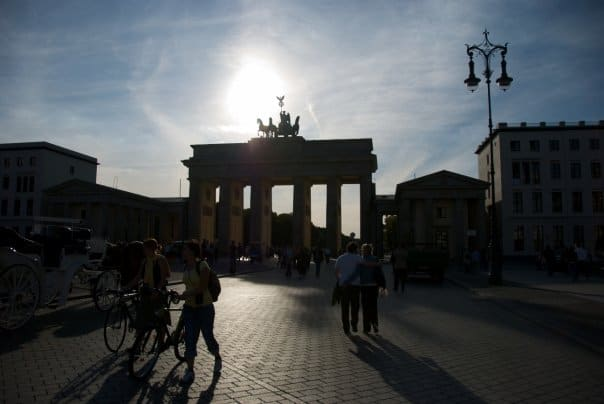 The Brandenburg Gate in Berlin in Silhouette