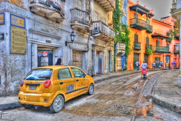 Cartagena street photo in watercolor HDR form