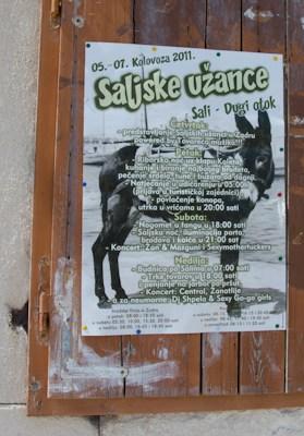 Donkey races in Sali Croatia poster, donkey race croatia poster