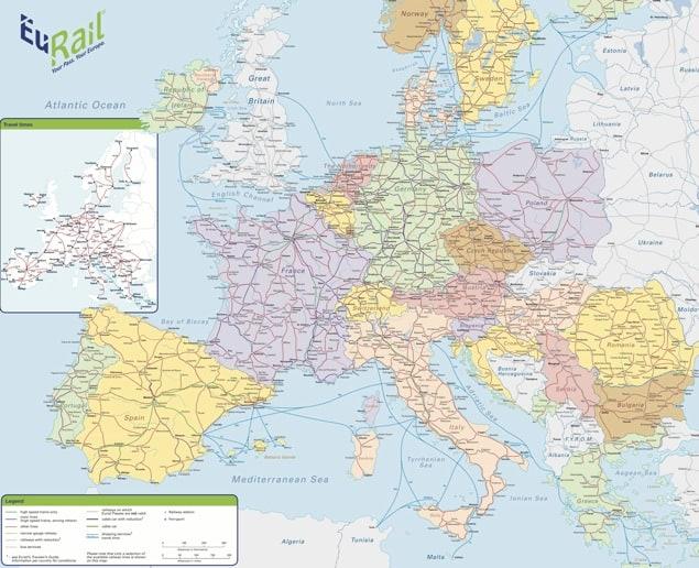 eurail map, europe railway map, european railroad map, eurail.com map
