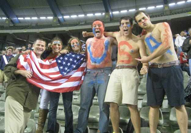USA Belgium soccer game, american fans