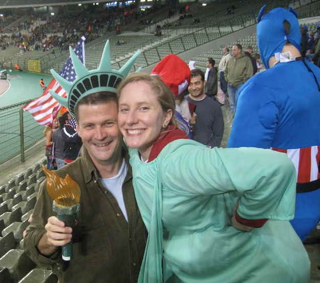 soccer fan dressed as statue of liberty in belgium