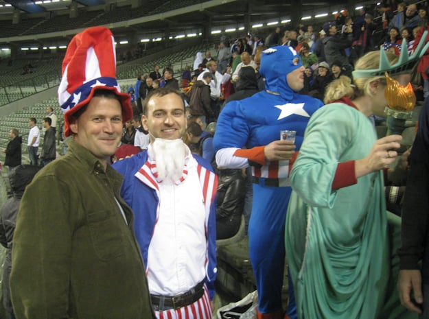 american fans at soccer game in belgium dressed up