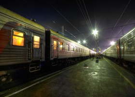 Trans-Mongolian train at night